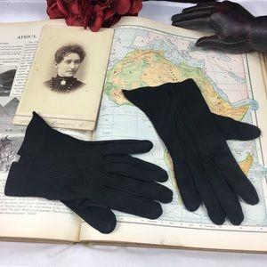Vintage 50s Black Formal Driving Wrist Gloves